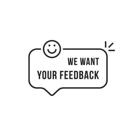 linear feedback speech bubble with smile