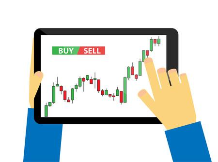stock trader: Tablet con el gr�fico de velas Vectores