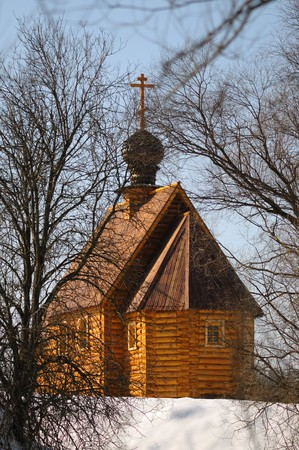 ortodox: Wooden ortodox church. winter view