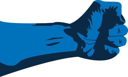 grappling: blue grappling hand