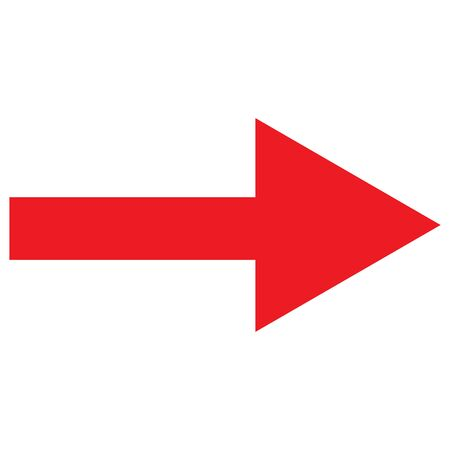 Right red arrow icon vector traffic symbol on white background. Forward,Right move - Great for label, icon,print, web etc.