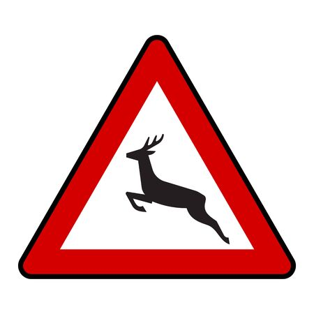 Traffic sign - Wild animal crossing road symbol in red triangle. Great for label, print etc.