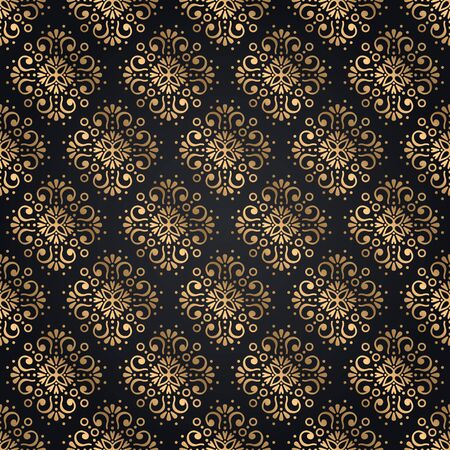 Golden mandala seamless pattern on black background - Clothing,background,fashion,celebration etc.