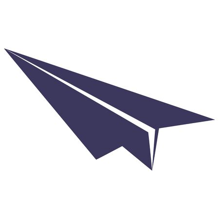 Cute cartoon paper airplane on white background. Violet color. Great for backgrounds,banner,paper,print,wallpaper etc.