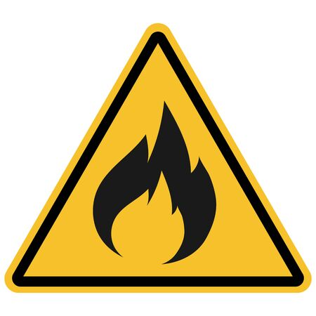 Flammable warning sign vector for products.Yellow triangle background. Great for icon,symbol,sign,label etc. Иллюстрация