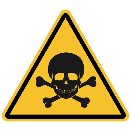 Triangle skull danger toxic waste sign, warning icon vector illustration. Great for icon,symbol,sign,label,sticker etc.