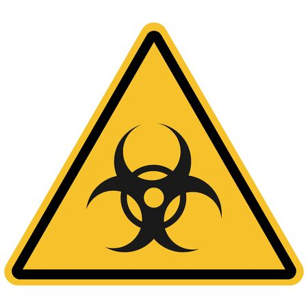 Triangle biohazard sign, warning symbol vector on white background. Great for icon,symbol,sign,label,sticker etc.