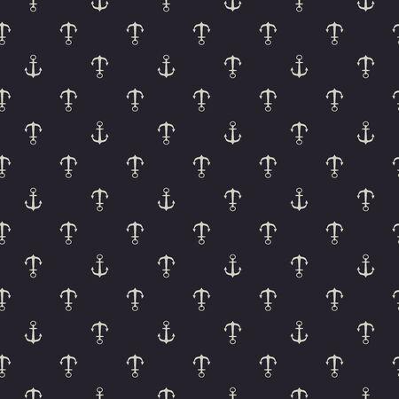 Grayish yellow anchor seamless pattern printed on black background. Fabric clothing designs.