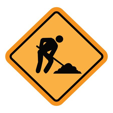 Traffic sign - Road at work or under construction. Great for icon,sign,symbol, sticker etc.