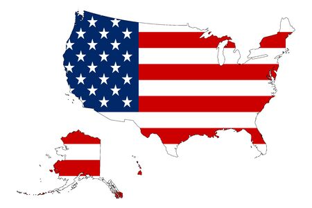 United states map with flag vector - Flag map.Perfect for presentations or backgrounds.
