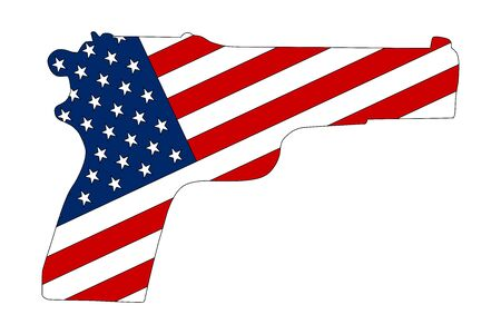 Hand pistol gun silhouette with american flag vector
