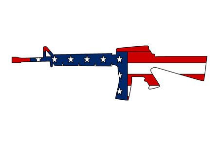 Semi automatic rifle with american flag vector illustration - Perfect for sticker, icon,poster,backgrounds,sign,symbol etc Çizim