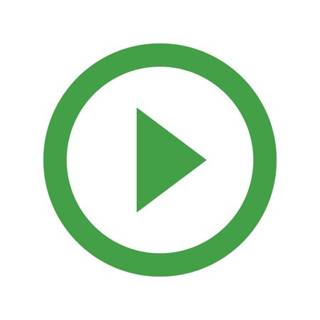 Video or audio play button green. Vector illustration. Perfect for icon,symbol,sign, digital, etc.  イラスト・ベクター素材