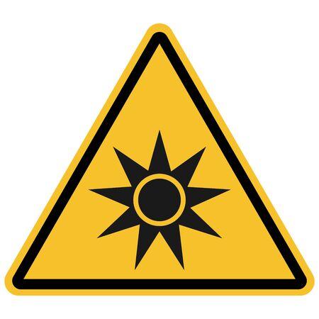 Warning sign Optical radiation vector- Yellow triangle board.