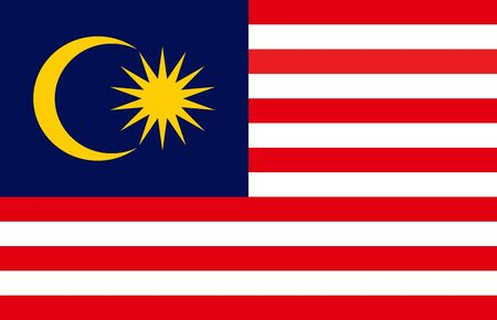 Malaysia state flag or Malaysian national flag. Sign,symbol,print,banner,backgrounds etc. Иллюстрация