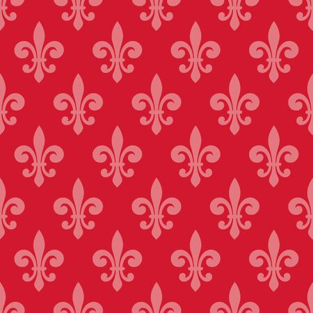 Light pink fleur de lis seamless pattern on red background. Perfect for backgrounds,banner,fabric and curtains. Illusztráció