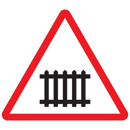Railway gate crossing triangle sign vector - Traffic sign attention