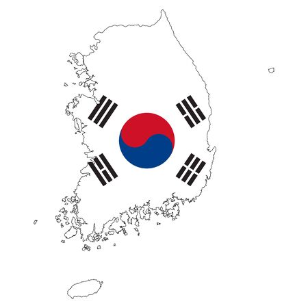 South korea map flag vector illustration background - Perfect for symbol,sign,backgrounds and stickers.
