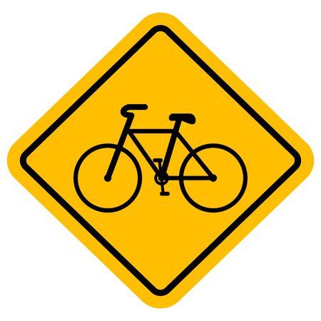 Bicycle crossing sign vector illustration. Yellow diamond board - Traffic symbol
