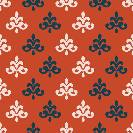 White,blue fleur de lis seamless pattern on orange background.Perfect for fabric,backdrop,curtains and backgrounds.  イラスト・ベクター素材