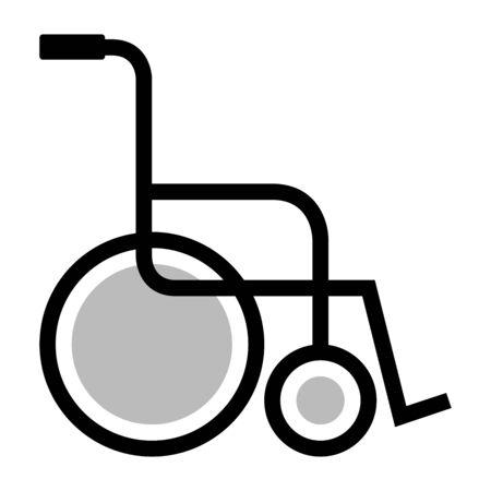 Wheelchair icon vector illustration. Handicap support equipment. Çizim