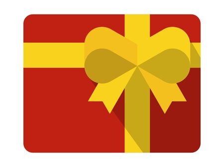 Gift pack vector illustration.Red box tied with yellow ribbon. Çizim