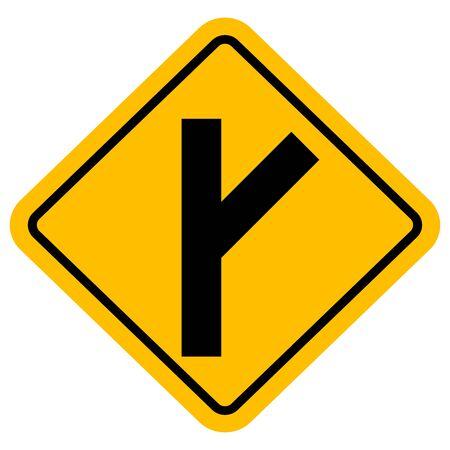 Y junction right or skewed side road traffic sign vector.