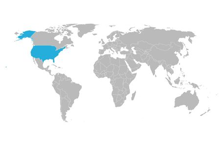 US world map highlighted with blue mark vector background illustration.