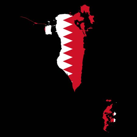 Bahrain flag map vector illustration Black background. Stock Illustratie