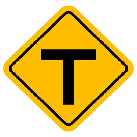 Road traffic warning sign T-junction vector illustration background. Perfect for Sticker and label.