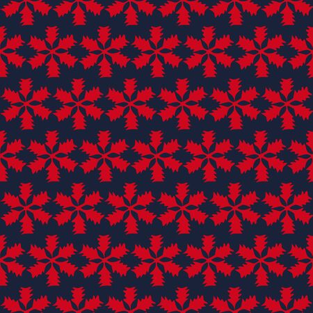 Dark blue, red floral tiles seamless vector pattern geometric background.