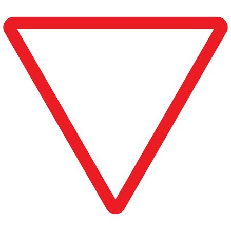 Traffic road symbol - Give a way triangle yield sign vector illustration background.