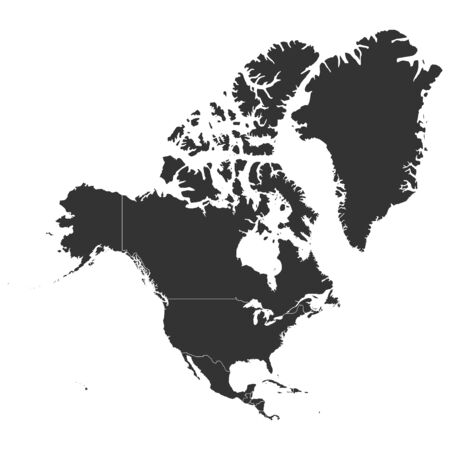 North american continent with countries political map colored black vector illustration. Çizim