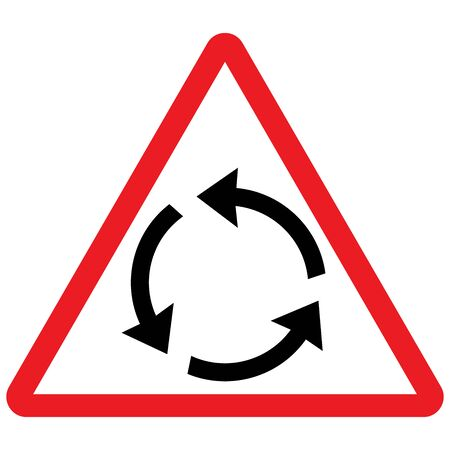 Traffic road sign roundabout vector illustration. Triangular driving symbols red white. Çizim