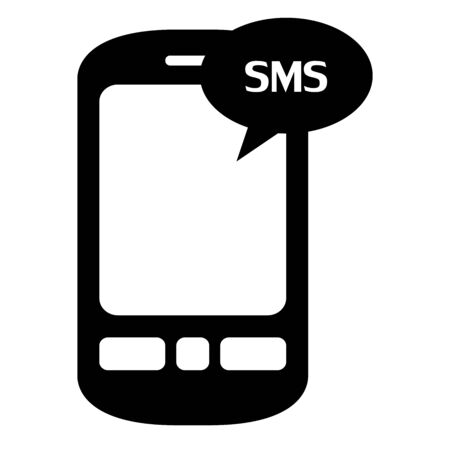 Mobile SMS sign silhouette vector illustration. Black, white. Perfect for chat icon,message,phone,mobile and texts. Çizim