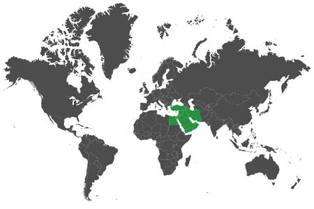 World map highlighted middle east countries with green map vector illustration.