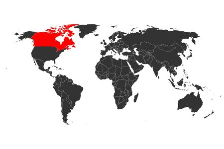 World map highlighted canada with red mark vector illustration background.