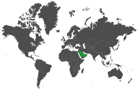GCC countries highlighted green on world map vector illustration background. Illustration