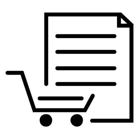 Supermarket shopping list icon or Trolley online cart vector illustration. Black color. Stock Vector - 132195641