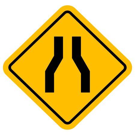 Traffic sign road narrow vector illustration. Perfect for backgrounds, sticker, label, symbol, sign etc. Illustration