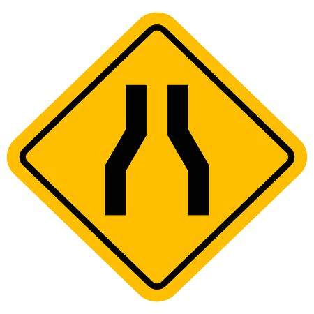 Traffic sign road narrow vector illustration. Perfect for backgrounds, sticker, label, symbol, sign etc. Çizim