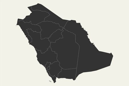 Modern saudi arabia map with boundaries vector illustration. Black, cream white.