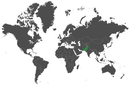 World map highlighted pakistan with green map vector illustration.