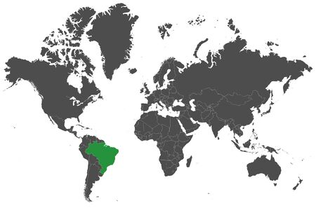 Brazil country marked green on world map vector illustration Çizim