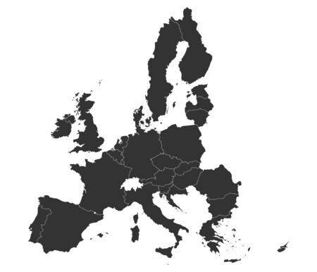All european union counties map with boundaries vector illustration. Dark gray.