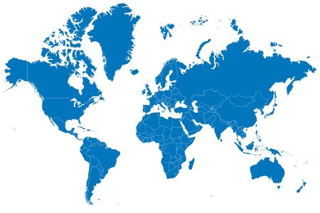 World map counties with boundaries vector illustration. Blue color.