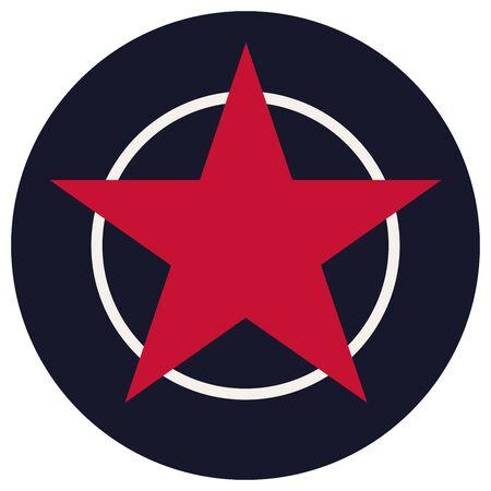 Start or star button vector background illustration. American festive color red,blue,white. Illustration