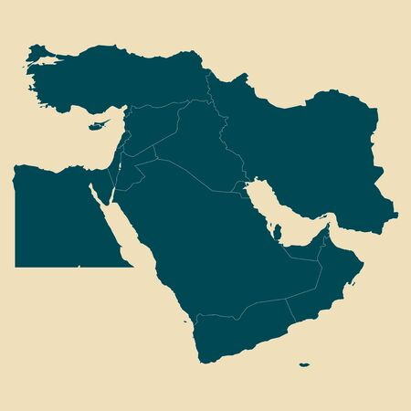 Middle east map with boundaries vector illustration. White, green. Çizim