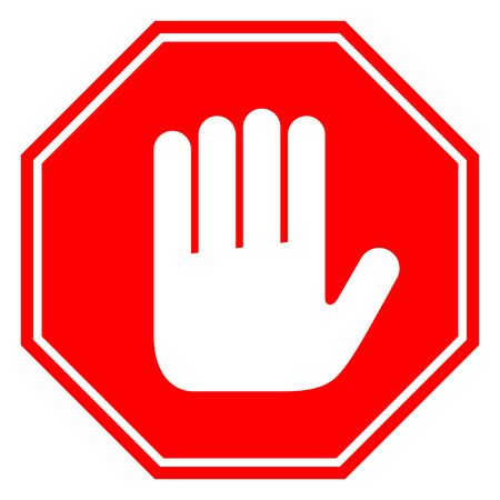 Do not enter stop red octagonal hand sign vector illustration