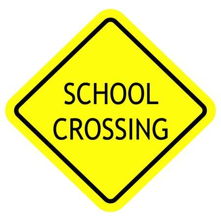 School crossing (words) caution sign vector illustration. Yellow, black. Illustration
